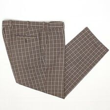 Brooks Brothers Country Club Mens Pants 40x30 Brown Beige Plaid Cotton Trousers