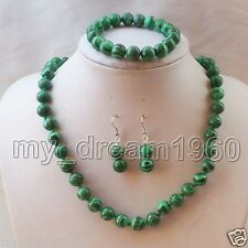Genuine 10mm Green Malachite Gemstone Round Beads Necklace Bracelet Earrings Set