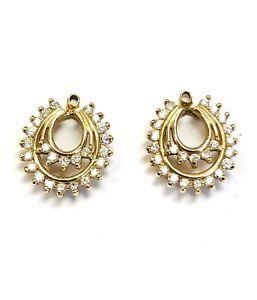 Beautiful 14k Yellow Gold Diamond Earring Jackets