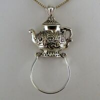 Sterling Silver TEAPOT Pendant for Necklace CHARM HOLDER Tea Lover Gift NEW Old