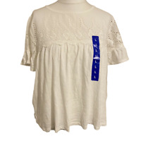 Jachs Girlfriend Top Large White Broderie Anglaise Short Sleeve Keyhole BNWT
