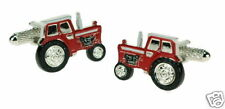 RED Tractor Cufflinks  Hand Painted Metal