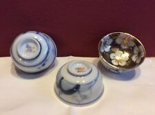 Adorable Set Of Three Japanes Rice / salt / finger / sauce Bowls. Gold/emerald
