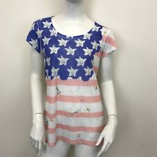 Ladies Union Jack Floral Printed Casual Short Sleeved T-Shirt Top UK Size 10