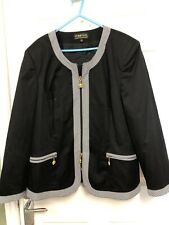 Ladies Black Cotton Jacket Zip Fastening Size 22 By Pompoos Harold Glockler
