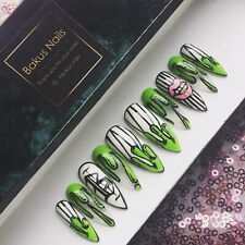 Hand Painted False Nails Press On Nails Long Stiletto Halloween Green slime