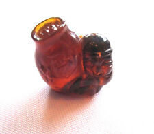 Antique 19th C Qing Chinese HandCarved Natural Amber Pendant-Monk Holding LG Urn