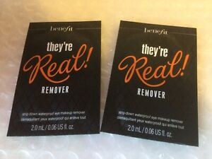 benefit they're Real Eye Make-up Remover Samples Sachets - 2x 2ml