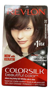 Revlon ColorSilk Beautiful Color 32 MAHOGANY BROWN 3D Color Keratin New Sealed
