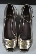 Faith 100% Leather Peep Toe Heels for Women