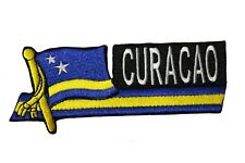 """CURACAO SIDEKICK Word Country Flag IRON-ON PATCH CREST BADGE 1.5"""" X 4.5"""" Inch"""