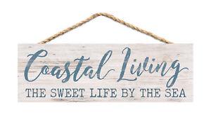Coastal Living Sweet Nautical Blue 10 x 4 Pine Wood Hanging Décor String Sign