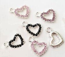 5 Mix Silver Plated Rhinestone Heart Charm Pendant 19mm x 13mm jewellery making