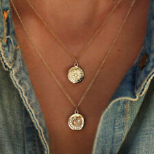 UK BOHO CRYSTAL MOON STAR DISC DOUBLE LAYER NECKLACE Ethnic Tribal Jewellery
