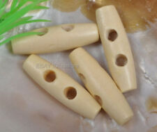 10Pcs cream color Wood oval Sewing Button coat toggles 2Holes 11x40MM