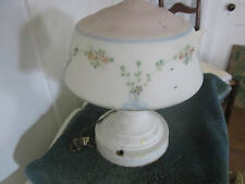Vintage ceiling light w/glass globe. So shabby with pink,blue,yellow flowers.