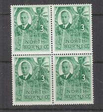 NORTH BORNEO, 1950 KGVI 3c. Coconut Grove, block of 4, mnh.