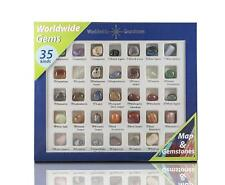 35 Variety Gemstone Collection Box Natural Polished Rock Stones Samples and Map