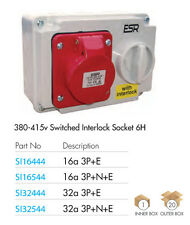 ESR IP44 industriale commutata interlocked Socket 415V ROSSO 16A 3 PIN + N + TERRA