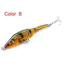 9.5cm/8.9g Painted 3 Sections VIB 3d Eyes Full Depth Bionic Fishing Lure Hooks K Color B