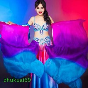 Wow! 100% silk thick veil belly dance fan a pair of left+right 5ft / 6ft long