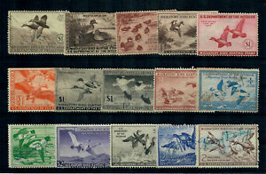 US FIFTEEN (15) EARLY FEDERAL DUCK STAMPS, MOSTLY USED and SOME with FAULTS