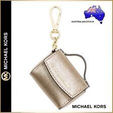 Michael Kors MK Ava Gold Leather Mini Handbag Bag Charm Key ring chain Purse