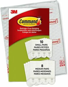 1 Pk 3M Command Picture Hanging Strips 10 Small 8 Medium Per Pack Total 18 Pairs