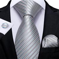 Silver Blue Stripped Silk Tie Set Mens Necktie Pocket Square Cufflinks Wedding