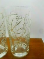 2 Corelle Grapes & Grapevinel Drink Glass JUICE Wine Tumbler Perfect Cond 5 3/4""