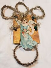 Antique LARGE German Christmas Ornament Scrap Paper Angel with Tinsel Loops 12""