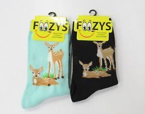 2 Pairs Women's Foozys Deer Doe Fawn Fun Novelty Socks 1 Green and 1 Black