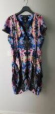 CITY CHIC Dress Size XL (22) Floral Multicoloured Front Zip and Pockets