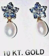 10kt gold Topaz flowers Drop Pearls Victorian Look New jewelry Earrings Dia acc