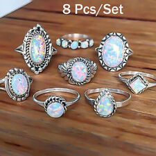 8Lot Fashion Women Vintage Boho Jewelry Midi Ring Set Crystal Opal Knuckle Rings