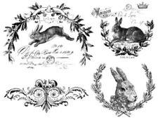 Vintage French Advertising Bunnies Furniture Transfers Waterslide Decals MIS608