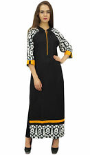 Bimba Women Rayon Custom Long Black Kurta Designer Straight Kurti With Scarf