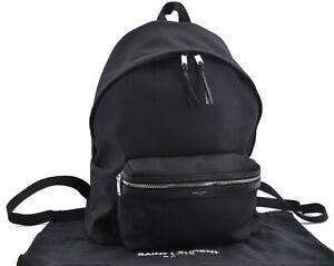 Authentic SAINT LAURENT City Backpack Canvas Leather Black D3267
