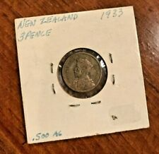 New Zealand 3 Pence, 1933, Crossed Patu Silver Coin