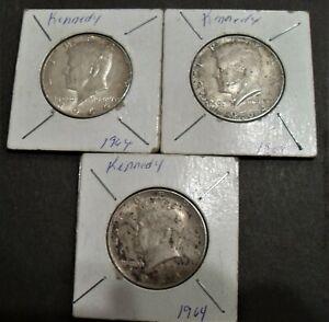 1964-P SILVER 50c KENNEDY HALF DOLLARS - 3 COIN LOT