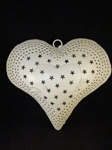 Cream Metal Heart Hanging Candle Holder - Large Heart with star design