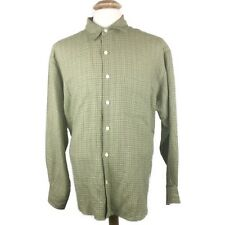 True Grit Mens Button Front Shirt Green Window Pane Plaid Size M Linen Blend USA