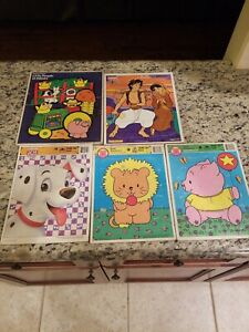 VINTAGE LOT OF 5 DISNEY GOLDEN FISHER PRICE KATE GLEESONS FRAME TRAY PUZZLES