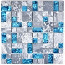 Mosaik blau grau Fliese Naturstein Glasmosaik Kombination | 88-0404_f | 10Matten