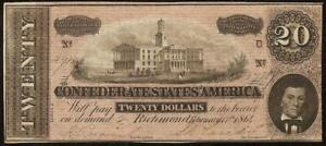 1864 $20 DOLLAR CONFEDERATE STATES CURRENCY CIVIL WAR NOTE OLD PAPER MONEY T-67