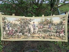 Rare Vintage Lg Tapestry Equestrian Fine English Foxhound Dogs Castles Horses