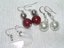 Estate Lot of 3 White Faux Pearl Red & Silver Plastic Bead & MOP Disk Earrings