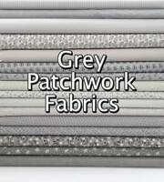 Light Grey Silver Mixed Patterned Floral + Themed 100% Cotton Patchwork Fabric