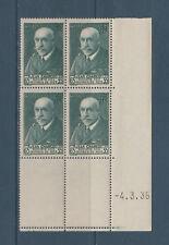 timbre France bloc de 4 coin daté  Jean Charcot  65C vert num: 377  **