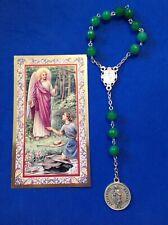 Archangel St Raphael Healing Rosary Chaplet Emerald Jade 8mm Queen of Angels